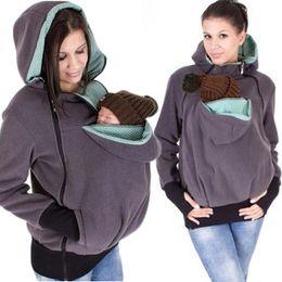 Wholesale baby fleece hoodies - Baby Carriage New Baby Carrier Jacket Kangaroo Women Fleece Hoodie 3 In 1 Pregnant Zip Outwear Maternity Carrier Baby Holder Jacket