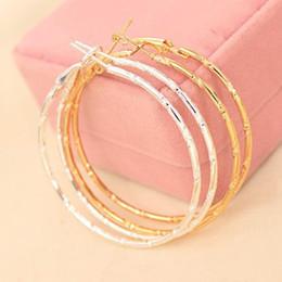 Wholesale Golden Hoop Stud - Charm Ear Stud Earings Jewelry Accessories Simple Earing Hoop Huggie Smooth Big Round Circle Earrings Golden Silver Plated Ear Jewelry
