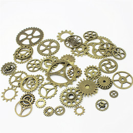 Wholesale Traditional Silver Jewelry - 100pcs lot Vintage Metal Mixed Gears Charms For Jewelry Making Diy Steampunk Gear Pendant Charms Wholesale