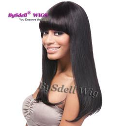 Wholesale Black Wig Straight Long Bangs - Newest Silk Straight long black wig Synthetic Wigs for black women pelucas pelo natural wig Heavy Density Women Neat Bang Wigs