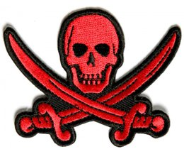 Wholesale Iron Patches Pirates - High Quality Red Pirate Sword Skull Patch - 3x2.25 inch Embroidered iron on jacket back free shipping