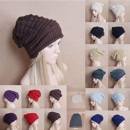 Wholesale Oversized Beanie Cap - Unisex Women Men Fascinators Winter Warm Baggy Beanie Knit Crochet Oversized Hat Slouch Fedora Cap A373