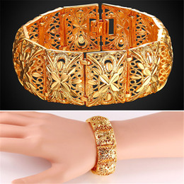 Wholesale Cute Cuffs - U7 Vintage Wide Cuff Bracelet for Women Indian Jewelry 20 cm Length 2.2 cm Width Gold Plated Cute Metal Fashion Bangles H2400