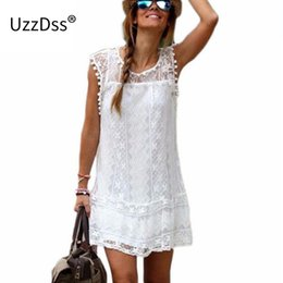 Wholesale Lace Dress S Line Plus Women - Wholesale- Summer Dress 2016 Women Casual Beach Short Dress Tassel Black White Mini Lace Dress Sexy Party Dresses Vestidos plus size