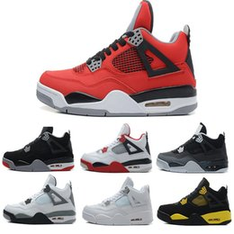 Wholesale Cheap Military Shoes - TOP quality air retro 4 IV Men basketball shoes Fire Red Bred Oreo White Cement CAVS Military Blue Athletic sneaker cheap eur 41-47