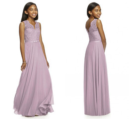 Wholesale Cheap Lilac Long Bridesmaid Dresses - 2017 Lilac Junior Bridesmaid Dresses V Neck Sleeveless A Line Floor Length Long Lace And Chiffon With Belt Cheap Bridesmaid Dresses