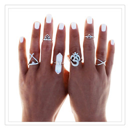 Wholesale Wholesale Nail Supplies Free Shipping - Nail Rings Retro Exaggerated Cross Adjustable Finger Knuckle Nail Rings For Women Set of 6pcs Wedding Supplies Rings Gift Free Shipping