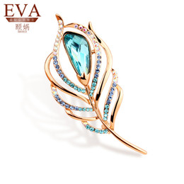 Wholesale Peacock Feather Pins - Wholesale- Tassina New 2015 Rose Gold Plated Zircon Crystal Luxury Peacock Feather Brooches Wholesales Fashion Jewelry for women ik5899