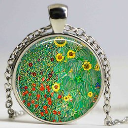 Wholesale Photo Farms - Klimt's Farm Garden with Sunflowers 25mm Round Glass Cabochon Photo Cameo Jewelry Accessories