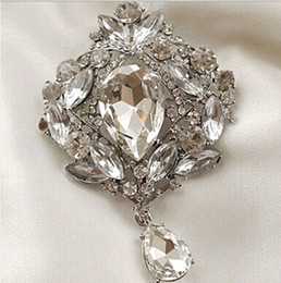 Wholesale Rhinstone Pins - Silver Plated Large Clear Rhinstone Crystal Water Drop Sparkly Bridal Pin Brooch