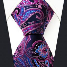 Wholesale Jacquard Purple Paisley Necktie - Q15 Paisley Blue Pink Mens Necktie Ties 100% Silk Jacquard Woven Fashion Classic