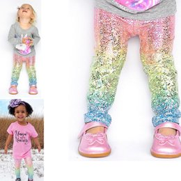 Wholesale Baby Trousers Pencil Pants - INS Boutique Baby Girls Mermaid Rainbow Fish Scale Gradient Long Pants Casual Trousers Fashion Glossy Scale