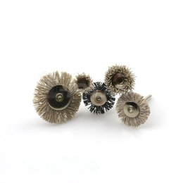 Wholesale Mini Wood Pieces - 5 pieces Assorted Mini Brush Mounted Nylon Abrasives Wire Polishing Brush Wood Carving Groove Grinding Head Dremel Tool