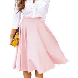 Wholesale Chiffon Skirt Womens - 2017 Summer Fashion Womens Skirts Elegant Solid High Wasit Slim Chiffon Pleated A-line Knee-length Skirt Female Skirts Plus Size