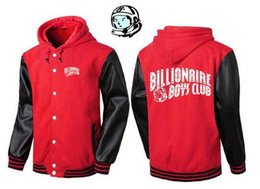 Wholesale Cotton Hoodie Leather - 2017 BBC button hoodie cardigan hip-hop style spell color high quality leather jacket men sportswear BILLIONAIRE BOYS CLUB