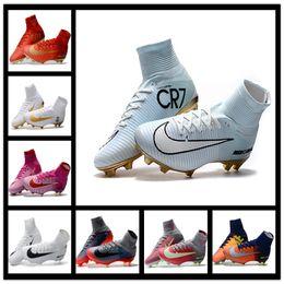 Wholesale Navy Blue Men Boots - 2017 Mens Football Boots Neymar JR Cheap Magista Obra 2 Mercurial Superfly CR7 FG Soccer Cleats High Top Soccer Shoes New Cristiano Ronaldo