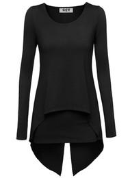 Wholesale Long Sleeve Layered Tops - Wholesale- Women Spring Solid Shirts Long Sleeves Layered Irregular Hem Tops Women Loose Stretchable Long T-Shirts