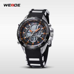 Wholesale Weide Digital Analog Gold - WEIDE Fashion Business Watch Men's Quartz All Steel Men's Men's Wear Sports Watch Silicone Strap Digital Analog Backlight Date Watch