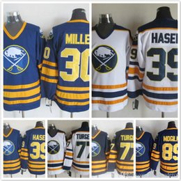 Wholesale Hasek Jersey - Throwback Buffalo Sabres 30 Ryan Miller 39 Dominik Hasek 77 Pierre Turgeon 89 Alexander Mogilny blue white Ice Hockey Jerseys