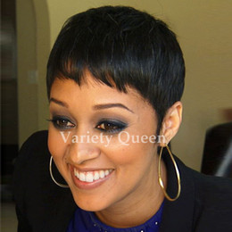 Wholesale Chic Lady - Lace front bob short cut pixie Straight human hair wigs machine made glueless Chic Cut Ladies Wigs for black women