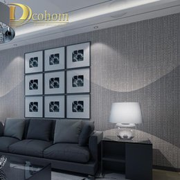 Wholesale Roll Striped Wallpaper - Wholesale- Modern Simple Luxury Home Decor Flocked Plaid Textured Striped Wallpaper Bedroom Living room Brown Grey 3D Wall paper Rolls