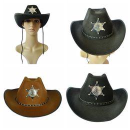 2019 antiguo occidental Estrella de cinco puntas sombrero de vaquero Retro American Western Antique Knight Cap Bowler Fedora Cap Sombreros de Halloween Cosplay 200 unids OOA2743 antiguo occidental baratos