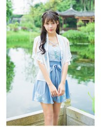 Wholesale Hanfu Women - The new style of han Chinese new original dusted embroidery hanfu for the daily short-sleeved women's three-piece skirt