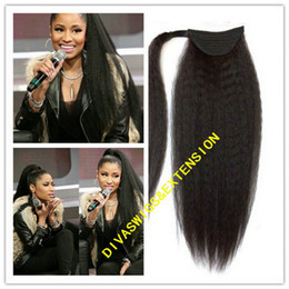 Wholesale Human Hair Straight Drawstring Ponytail - New hot Indian remy Kinky straight ponytail coarse yaki italian yaki ponytail drawstring clip in african human hair ponytails