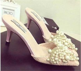 Wholesale Crystal Pearl Sandals - Fashion Banquet Wedding Womens Elegant Shoes PointedToes Shoes Summer Sandals Party Prom High Heels Shoe Pearl Crystal Lace Heel 8 cm