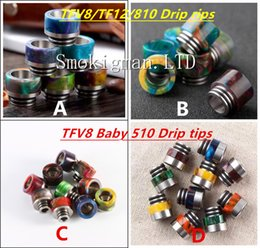 Wholesale Stainless Steel Baby - TFV8 Epoxy Resin Stainless steel Drip tips Wide Bore 510 dripper tip Mouthpiece Smok TFV8 TFV12 Big Baby Tank Kennedy AV24 RBA atomizer ecig