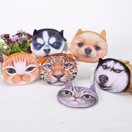 Wholesale Headphone Cartoons - Fidget Spinner Bags 3D Printing Cat Dog Tiger Cartoon Handbag Plush MINI Coin Purses Wallets Zipper Key Headphone Holder Bags