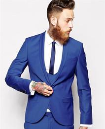 Wholesale Cheap Blazer Jackets Mens - Wholesale- Custom Made Groom Tuxedos Business Suits Classic Black Cheap blue Blazer Men Prom Mens Tux Bridegroom(Jacket+Pant +vest+Tie)
