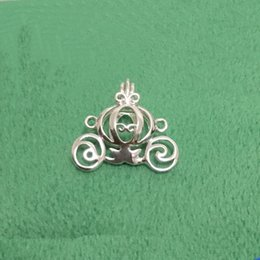 Wholesale Sterling Pendant Mounting - cage 925 Silver Carriage Locket Cage Mounting, Can Open Sterling Silver Pumpkin style Pearl Pendant Fitting Charms