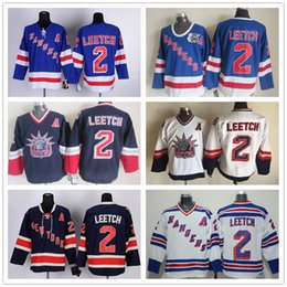 Wholesale Brian Leetch Jersey - Top Quality New York Rangers 1991 Throwback Jerseys Mens #2 Brian Leetch Blue White CCM Vintage Ice Hockey Jersey 100% Stitched