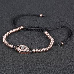 Wholesale Metal Evil Eye Charm Bead - Mens Bead Bracelets Multi Colors Evil Eye 22MM Metal Copper Charms For Men Handmade Adjustable Beads Bracelets 16B021R