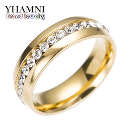Wholesale Solid 18k Wedding Rings - YHAMNI Original Engagement Wedding Rings For Women Men Solid Gold Filled Diamond Fashion Jewelry Rings R005S