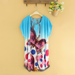Wholesale Tunic Batwing Summer Dress - Wholesale- summer dress 2017 Women Retro Loose Ethnic Print Batwing cotton short sleeve tunics vintage bohemian dress Sexy Plus size dress