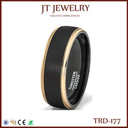 Wholesale Tungsten Rose Gold Women - Special Offer 8mm 6mm 4mm Mens Women Wedding Band Two Tone Black Brushed Polish Tungsten Men Ring Rose Gold Step Edge 5#-15# Free Shipping