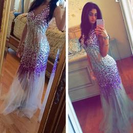 Wholesale Colourful Crystal Dress - Colourful Heavy Crystal Rhinestone Mermaid Evening Dress Sexy See Through 2017 Floor-Length Sexy V Neck Sleeveless glamorous Prom Dress