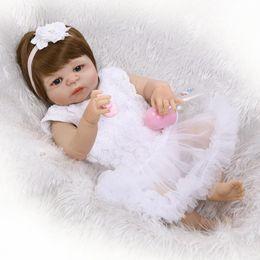 "Wholesale China Vinyl - 22"" girl boy bebe doll reborn full body silicone vinyl reborn babies children bath doll Matryoshka toys realista bonecas reborn"