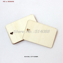 Wholesale Wholesale Wood Cutouts - (60pcs lot) 40mm x 60mm Heart Cutout Unfinished Plain Wood Name Cards Greeting Cards Supplies Rustic Save Date Label -CT1238A