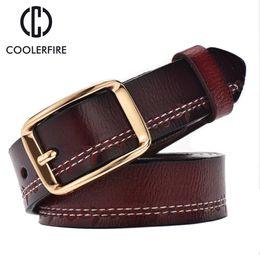 Wholesale Wide Vintage Leather Belt - Wholesale- 2017 fashion women belts luxury all-match genuine leather belt high quality pin buckle wide vintage cowskin strap female WH003
