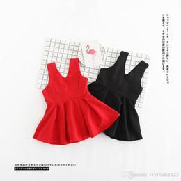 Wholesale Dress Lantern Cotton Girl - 2017 INS styles Hot sell Super cute summer back bowknot girls Dress 100% Cotton sweet dress clothing girl elegant dress 2 colors