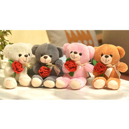 Wholesale Flowers Teddy Bears - 2017 New Cute Rose Flower Teddy Bear Plush Toy 25cm 10 pcs Lovers Children Present Five Colors Free Shipping