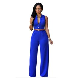 Wholesale Low V Neck Jumpsuits - Wholesale- Low Price Rompers Women's Jumpsuit Fashion Sexy Loose V-Neck Casual Party Jumpsuit Sleeveless Rompers With belt Mujeres Mono