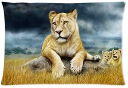 Wholesale Big Cat Paintings - 2pcs Custom Big cats Lions Painting Pattern Zippered Cotton Polyester Pillow Case 20x30 (Twin sides)