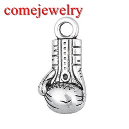 Wholesale Gloves Diy - Personalized Vintage Design Tibetan Silver Plated 3D Boxing of Proof Boxing Glove Floating Charm DIY Vintage Jewelry Making