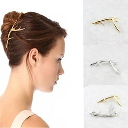 Wholesale Alexandrite Jewelry For Women - 1PC Fashion Antler Shape Golden Alloy Barrette Hair Clip for Women Girl Hair Jewelry Accessories A7R35C