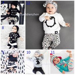 Wholesale Baby Pcs Sets Leopard - 30 Style Baby INS fox stripe letter Suits DHL Kids Toddler Infant Casual Short long sleeve T-shirt +trousers 2 pcs sets pajamas B001