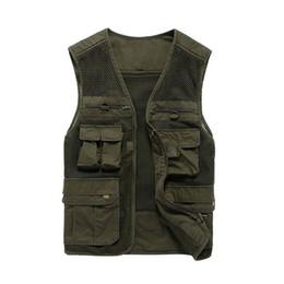 Wholesale Men Travel Vest - 2017 Summer Cotton Sleeveless Casual Loose Photographer Mesh Travel Pocket Vest